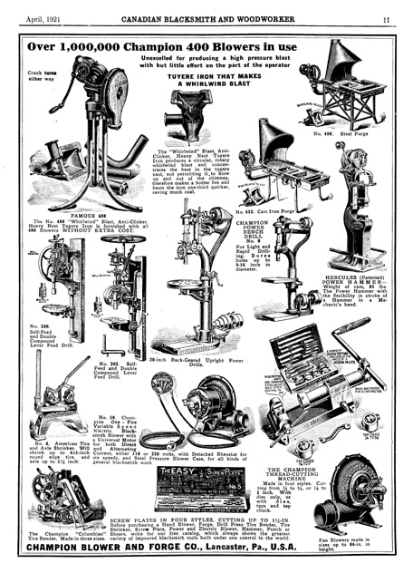 champion forge blower. here is a full page ad from champion blower and forge. forge
